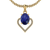 1.40 Ctw I2/I3 Blue Sapphire And Diamond 14K Yellow Gold Necklace