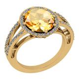 3.52 Ctw I2/I3 Citrine And Diamond 14K Yellow Gold Vintage Style Engagement Halo Ring