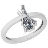 0.56 Ctw Diamond I2/I3 14K White Gold Vintage Style Ring