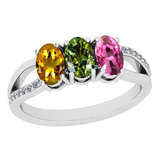 0.83 Ctw SI2/I1 Multi Sapphire And Diamond 14K White Gold three Stone Ring