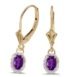 14k Yellow Gold Oval Amethyst And Diamond Leverback Earrings
