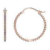 0.84 Ctw I2/I3 Diamond 10k Rose Gold Hoop Earrings