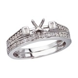 14K White Gold Baguette Diamond Bridal Ring Set 0.39 CTW