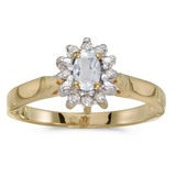 10k Yellow Gold Oval White Topaz And Diamond Ring 0.31 CTW