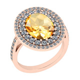 4.62 Ctw I2/I3 Citrine And Diamond 14K Rose Gold Vintage Style Engagement Halo Ring