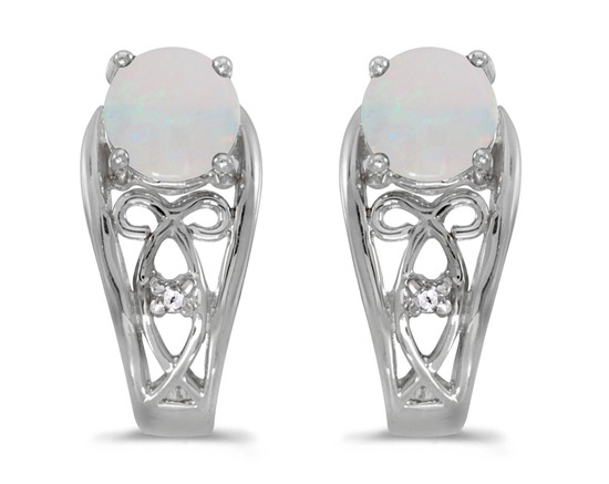 14k White Gold Round Opal And Diamond Earrings 0.39 CTW