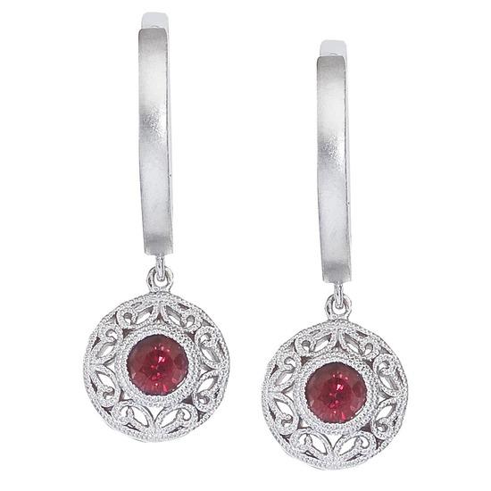 14k White Gold Ruby Filigree Huggy Earrings 0.55 CTW