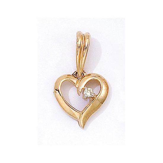14K Yellow Gold Diamond Heart Pendant 0.03 CTW