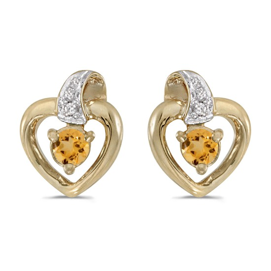14k Yellow Gold Round Citrine And Diamond Heart Earrings 0.17 CTW