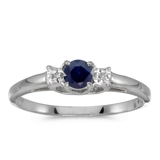 14k White Gold Round Sapphire And Diamond Ring 0.23 CTW