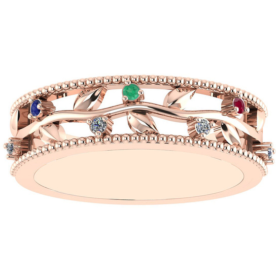 0.07 Ctw VS/SI1 Multi Ruby,Emerald,Sapphire And Diamond 14K Rose Gold Filigree Style Band Ring