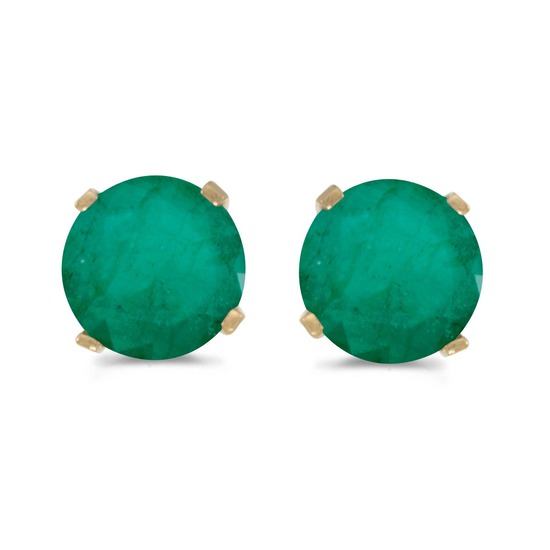 5 mm Natural Round Emerald Stud Earrings Set in 14k Yellow Gold 0.66 CTW