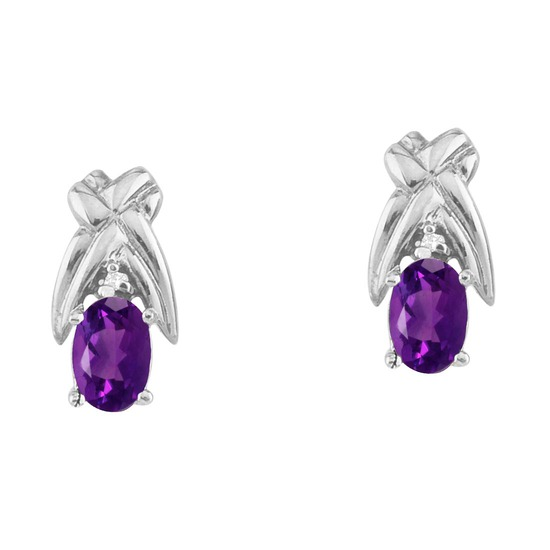 14k White Gold 6x4 mm Amethyst and Diamond Oval Shaped Earrings 0.66 CTW