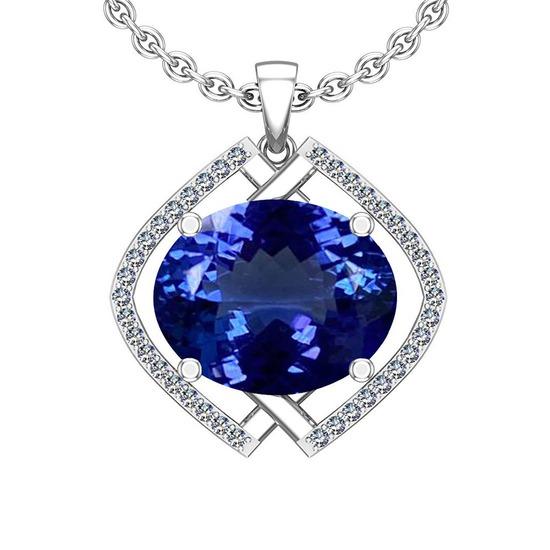 5.58 Ctw VS/SI1 Tanzanite And Diamond 14k White Gold Victorian Style Necklace