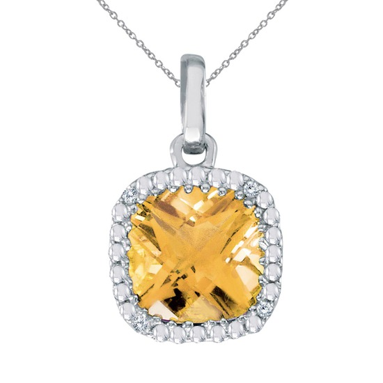 14k White Gold Cushion Cut Citrine And Diamond pendant