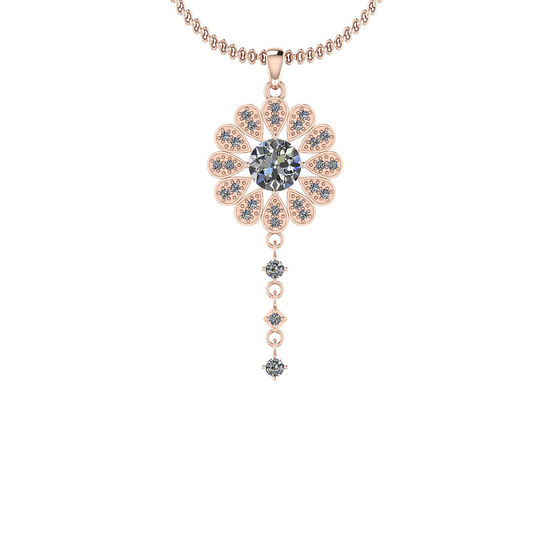 1.38 Ctw VS/SI1 Diamond 14K Rose Gold Pendant