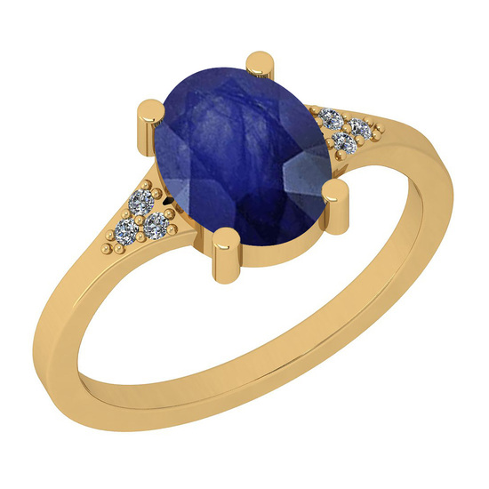 1.33 Ctw I2/I3 Blue Sapphire And Diamond 14K Yellow Gold Ring