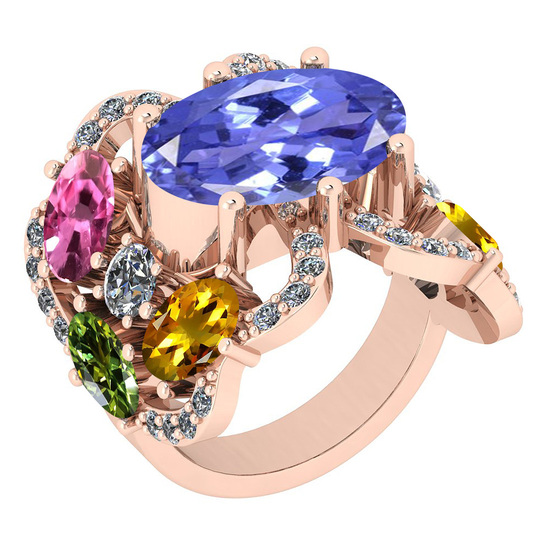7.67 Ctw SI2/I1 Multi Sapphire,Tanzanite And Diamond 14K Rose Gold Cocktail Style Engagement Ring