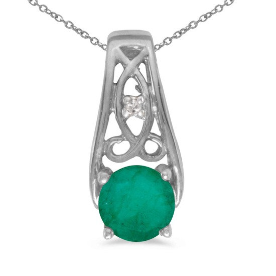 10k White Gold Round Emerald And Diamond Pendant 0.34 CTW