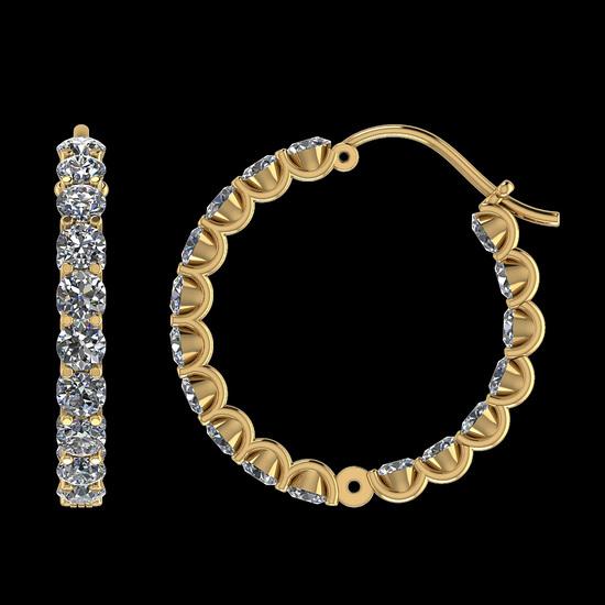 3.40 Ctw SI2/I1 Diamond 14K Yellow Gold Hoop Earrings