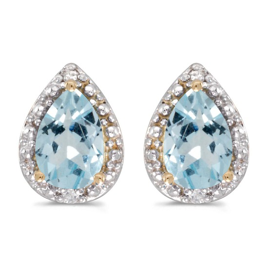 14k Yellow Gold Pear Aquamarine And Diamond Earrings 1 CTW