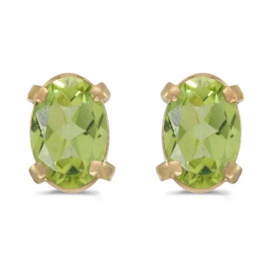 Certified 14k Yellow Gold Oval Peridot Earrings