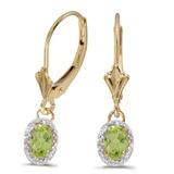 10k Yellow Gold Oval Peridot And Diamond Leverback Earrings 0.96 CTW