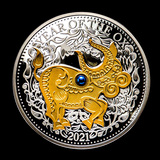 2021 Fiji 1 oz Silver Year of the Ox Proof (Gold Gilded w/Pearl)