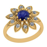 0.74 Ctw I2/I3 Blue Sapphire And Diamond 14K Yellow Gold Vintage Style Ring