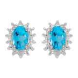 14k White Gold Oval Blue Topaz And Diamond Earrings 0.84 CTW