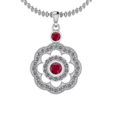 1.03 Ctw VS/SI1 Ruby And Diamond 14K White Gold Pendant Necklace