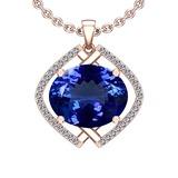 5.58 Ctw VS/SI1 Tanzanite And Diamond 14k Rose Gold Victorian Style Necklace