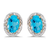 14k Yellow Gold Oval Blue Topaz And Diamond Earrings 0.82 CTW