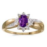 14k Yellow Gold Oval Amethyst And Diamond Ring 0.35 CTW