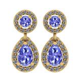 1.57 Ctw I2/I3 Tanzanite And Diamond 14K Yellow Gold Earrings