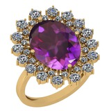 6.14 Ctw Amethyst And Diamond SI2/I1 14k Yellow Gold Victorian Style Ring