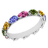 3.00 Ctw I2/I3 Multi Sapphire ,Tanzanite Style Prong Set 10K Yellow Gold Eternity Band Ring