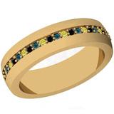 0.16 Ctw I2/I3 Multi Treated Fancy yellow,Blue,Black diamond 14K Yellow Gold Entertiy Band Ring