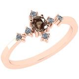 0.34 Ct Natural Brown Diamond I2/I3And White Diamond I2/I3 14k Rose Gold Anniversary Ring