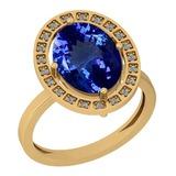 2.83 Ctw VS/SI1 Tanzanite And Diamond Platinum 14K Yellow Gold Plated Ring