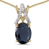 14k Yellow Gold Oval Sapphire And Diamond Pendant
