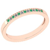 0.18 Ctw SI2/I1 Emerald And Diamond 14K Rose Gold Band Ring