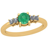 1.62 Ctw Emerald And Diamond I2/I3 14K Yellow Gold Vintage Style Ring