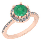 1.52 Ctw VS/SI1 Emerald And Diamond 14K Rose Gold Engagement Halo Ring