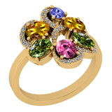 1.75 Ctw SI2/I1 Multi Sapphire,Tanzanite And Diamond 14K Yellow Gold Cocktail Anniversary Ring