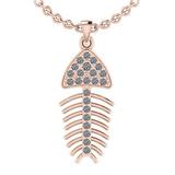 0.24 Ctw SI2/I1 Diamond 14K Rose Gold Fish Pendant