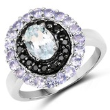 1.77 CTW Genuine Aquamarine, Black Spinel and Tanzanite .925 Sterling Silver Ring
