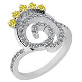0.96 Ctw I2/I3 Treated Fancy Yellow And White Diamond 14K White Gold Engagement Halo Ring