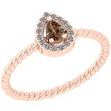 0.19 Ct Natural Brown Diamond I2/I3And White Diamond I2/I3 18k White Gold Anniversary Ring