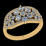 1.39 Ctw I2/I3 Diamond 10K Yellow Gold Cluster Engagement Ring